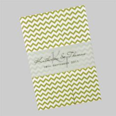 This gatefold wedding invitation features the wedding details printed on an insert which is glued inside the card. It is shown here in olive green. It is also available in more than 50 other colours. www.kardella.com