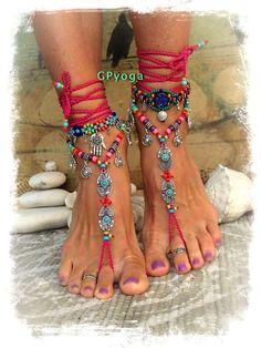 Hot BIKINI rosa a piedi nudi sandali tribali Ibiza estate Toe