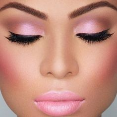 Lovely medium rose pink blush, lipstick and eye shadow!!! Bebe'!!! A lovely look for a special occasion!!!