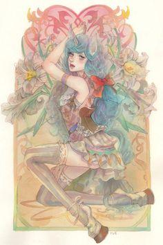#Aquarelle fille charme #Fantasy licorne #Dessin memento1113 #TechniqueàEau #Manga
