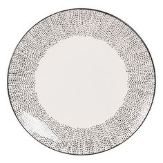 White Stoneware Dessert Plate with Polka Dots Mekong
