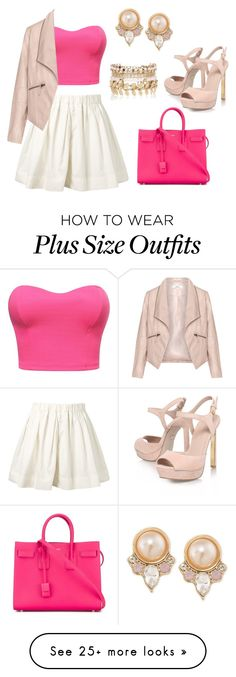 """""""Pink"""" by lindsohh on Polyvore featuring Marc Jacobs, KG Kurt Geiger, Zizzi, Yves Saint Laurent, Carolee and River Island"""