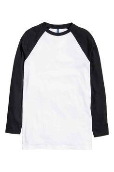 Baseball shirt: Long-sleeved jersey baseball shirt in a cotton blend with  raglan sleeves