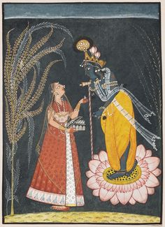 Radha offers pan to Krishna  Indian, Pahari about 1725 Opaque watercolor, silver and gold on paper (via Museum of Fine Arts Boston)