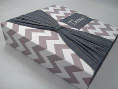 Baby Memory Book /GRAY CHEVRON with SASH /baby boy girl /modern /personalized /custom memory album  /pregnancy journal /8.5x11 /150 pages on Etsy, $165.00