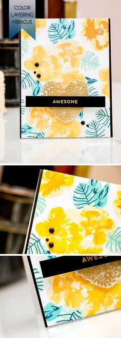 Create a tropical pattern with Hero Arts Color Layering Hibiscus stamp set. For more details, please visit http://www.yanasmakula.com/?p=50622