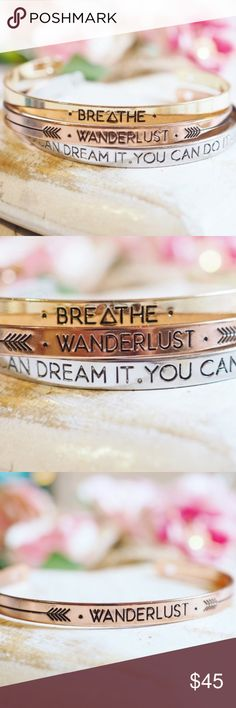 Inspirational Bracelets Stainless steel and 18k silver and gold plated bangles. Adjustable size. Handcrafted with lo v e in the USA. Gold Breathe, Rose Gold Wanderlust, Silver Dream It Twilight Gypsy Collective Jewelry Bracelets