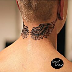 Behind The Neck Tattoos, Back Of Neck Tattoo Men, Wing Neck Tattoo, Small Neck Tattoos, Shoulder Tattoos For Women, Alas Tattoo, Simbolos Tattoo, Nape Tattoo, Forearm Sleeve Tattoos
