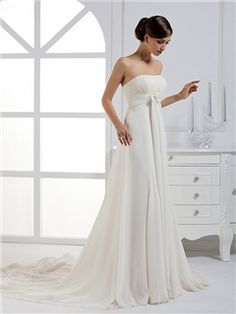 Gorgeous A-line Strapless Ribbons Court Train Wedding Dress Wedding Dresses 2014- ericdress.com 8888683