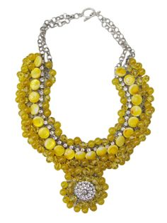 This unique neckpiece is made of citrine swarovski crystals, yellow jade, rhinestones, yellow shell beads, and sterling silver chain on a wire bed. Metal Jewelry, Sterling Silver Chains, Bridal Jewelry, Rhinestones, Wedding Styles, Jade, Swarovski Crystals, Shell, Beaded Necklace