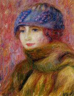 ▴ Artistic Accessories ▴ clothes, jewelry, hats in art - William Glackens | Woman in a Blue Hat