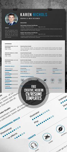 free creative modern and coporate cvresume templates