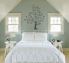Stylish Bedroom Paint Ideas Applied for Guys Private Space: Cool Contemporary Bedroom Design Interior With Soft Blue Bedroom Paint Ideas And. Attic Bedrooms, Guest Bedrooms, Home Bedroom, Girls Bedroom, Bedroom Decor, Blue Bedrooms, Upstairs Bedroom, Serene Bedroom, Pretty Bedroom