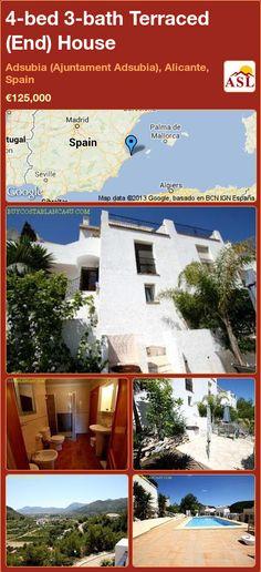 4-bed 3-bath Terraced (End) House in Adsubia (Ajuntament Adsubia), Alicante, Spain ►€125,000 #PropertyForSaleInSpain