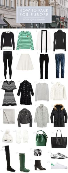 How to Pack for Europe: Winter Capsule Wardrobe | How I pack a 26-item capsule wardrobe for anywhere from 10 days to 12 weeks in Europe, and what to wear in France, Italy, and London during winter. | Packing Light | Travel Tips | Carry-on Packing | Winter Travel #travelpacking