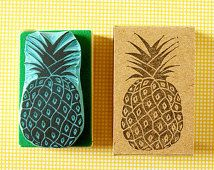 Pineapple rubber stamp hand carved mounted summer decor DIY ideas