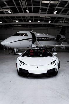 Private Jet with White Lamborghini - The MAN