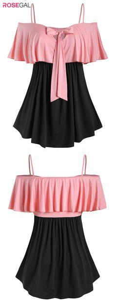 Rosegal Plus Size Two Tone Bowknot Ruffled T Shirt Plus Size Crop Tops, Plus Size T Shirts, Trendy Fashion, Spring Fashion, Fashion Outfits, Outfits Plus Size, Plus Size Lingerie, Fashion Online, Fashion Brand