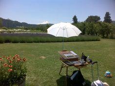Art in the garden under the umbrella :)