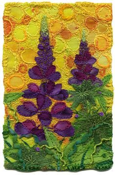 Lupines, small - By Kirsten Chursinoff  a textile artist