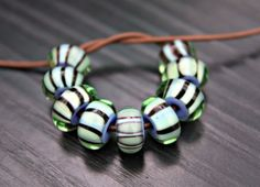 Striped Sage Green and Periwinkle Blue Unique by blancheandguy, $67.00