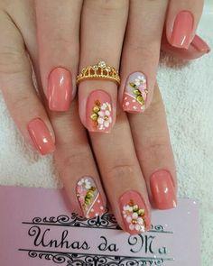 Uñas 1 unha en 2019 ногти, идеи для ногтей y маникюр. Fancy Nails, Cute Nails, Work Nails, Spring Nail Art, Flower Nail Art, Pretty Nail Art, Toe Nail Designs, Cute Acrylic Nails, Square Nails