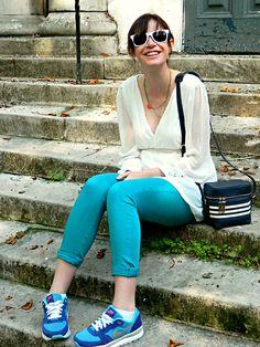 Charley Ellis - Primark White Sunglasses, Choies White Deep V Neck Backless Waisted Chiffon Dress, New Look Striped Camera Bag, Monsoon Aquamarine Jeans, Nike Air Trainers - Kingfisher