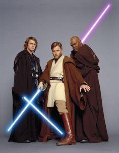 Anakin, Obi-Wan, and Mace