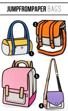 These are real bags that look like cartoons and I need one. #JumpFromPaper