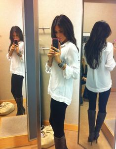 White blouse black leggings boots, i can't seem to pull off the button downs for some reason, but this is cute