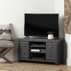 South Shore Grey Oak Exhibit Corner TV Stand