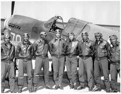 pinner writes: Tuskegee Airmen from class 42I posing in front of an airplane.  Bravo!