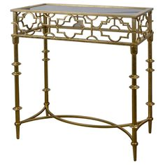 GOLD MTL ACCENT TABLE BLK MIR