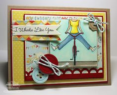 Stamps:  WTG Enjoy The Ride from My Favorite Things  Paper:  Kraft (MFT), Red Hot (MFT), Sno Cone (MFT), Choice Buttercream (TE), X Press It Blending Card and On The Sunny Side (My Minds Eye)  Ink:  Memento Tuxedo Black  Accessories:  Copic Markers, Little Open Scallop Strip Die-Namics, First Place Award Ribbon Die-Namics, Button Quartet Die-Namics, Fishtail Flags STAX Die-Namics, Twine, Janome Sew Mini and Jody Boosters