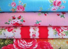Shabby Chic Aqua Blue and Pink Roses Fat Quarter Bundle