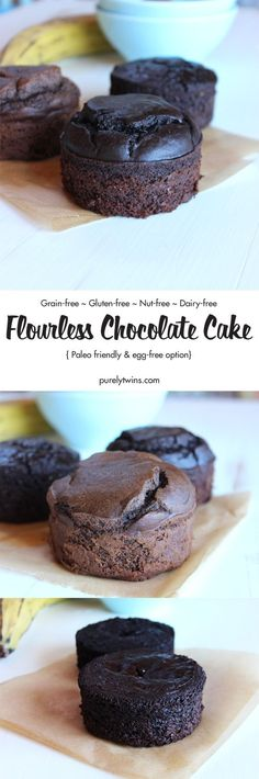 This flourless chocolate cake recipe is made with just 5 easy ingredients, it's naturally gluten-free, and it is so decadent and delicious. The perfect chocolate cake recipe when you are wanting chocolate cake but don't want to make a whole cake. Too Much Chocolate Cake, Hershey Chocolate Cakes, Perfect Chocolate Cake, Chocolate Cake Recipe Easy, Flourless Chocolate Cakes, Choclate Brownies, Coconut Dessert, Paleo Dessert, Gluten Free Cakes