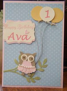 Cute girl owl punch card Stampin Up