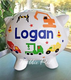 Personalized Piggy Bank Construction Vehicles Custom Boy's Truck Piggy Bank Trucks Construction Vehicles Toddler Boy Birthday by BubbieRed on Etsy Toddler Boy Birthday, Kids Birthday Gifts, Toddler Boys, Baby Boys, Personalized Piggy Bank, Personalized Baby Gifts, Baby Boy Gifts, Gifts For Boys, Logan
