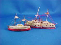 Antique Miniature Erzgebirge Toy Ships Boats by AmericanaAntiques, $75.00