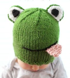 Free Knitting Pattern for Funny Frog Baby Hat - Cassandra May at Little Red Window designed this easy knit baby hat that gets its personality from a few additional pieces and a little embroidery. The 6 month size pattern is free at her website. Printable pdf version and other sizes are available on Etsy.