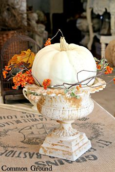 autumn, decorating ideas, fall decorations, halloween weddings, fall weddings, fall home, white pumpkins, wedding centerpieces, front porches