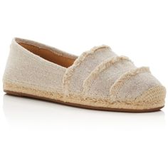 Michael Michael Kors Tibby Frayed Linen Espadrille Flats (9110 RSD) ❤ liked on Polyvore featuring shoes, flats, natural, espadrille flats, michael michael kors, flat pump shoes, flat shoes and flat pumps