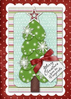 Christmas Tree heart card     5x7 Greeting Card  Template ID: 71801