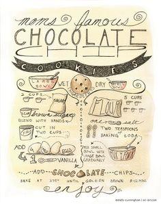 Cookie Recipe Illustration 8x10 print kitchen by IrishShells