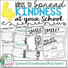 FREE!! Help spread kindness in your classroom and throughout your entire school with these 4 activities.To learn more, visit my blog, Out of This World Literacy.Here is a link to the post about the free resource:Blog Post for This ResouceThank you all for downloading and for being kind to every student and adult in school! :)Clip art credit to Melonheadz, Teaching in a Small Town, and KG Fonts