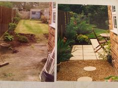 Long thin garden makeover : I like the wiggly lawn :)