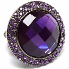 Syrenity's Large Round Purple Crystal Fashion Ring