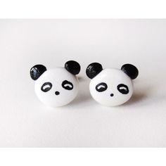 Cute Polymer Clay Panda Bear Earrings ($10) ❤ liked on Polyvore