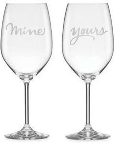 Kate Spade New York Set of Two Two Of A Kind Yours & Mine Crystal Wine Glass Set