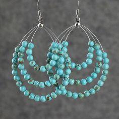 Earrings hoop loop large turquoise tear drop by AniDesignsllc,
